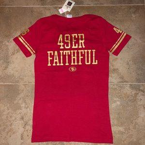 San Francisco 49ers FAITHFUL VS Pink T-Shirt S NWT